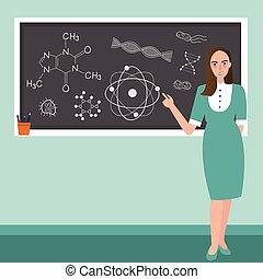 teacher in front of class explain chemistry reaction science subject in blackboard