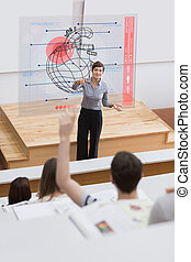 Teacher in front of futuristic interface pointing a student