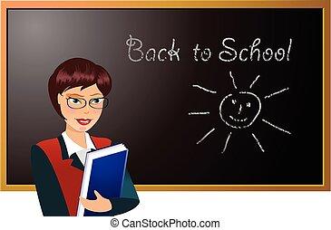Teacher in the front of blackboard
