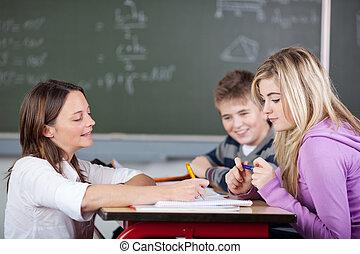 Teacher is explaining