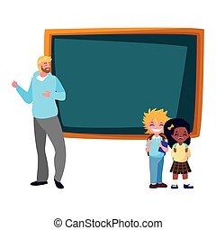 teacher man with school boy and girl