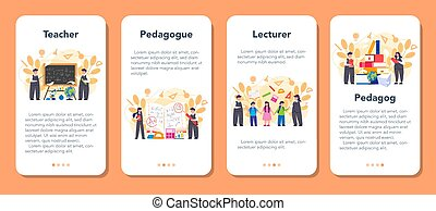 Teacher mobile application banner set. Profesor standing in front of the blackboard. School or college workers with professional discipline tools. Isolated flat vector illustration