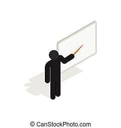 Teacher near the blackboard with pointer icon