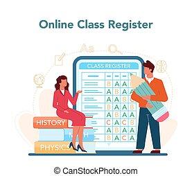Teacher online service or platform. Profesor planning curriculum, meeting parents. School or college workers. Online class register. Isolated flat vector illustration