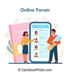 Teacher online service or platform. Profesor planning curriculum, meeting parents. School or college workers. Online forum. Isolated flat vector illustration