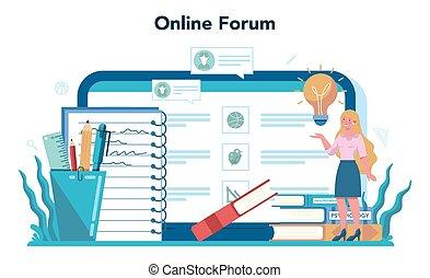 Teacher online service or platform. Profesor standing in front of the blackboard. School or college workers. Online forum. Isolated flat vector illustration