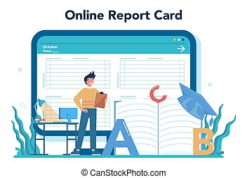 Teacher online service or platform. Profesor standing in front of the blackboard. School or college workers. Online report card. Isolated flat vector illustration