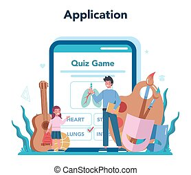 Teacher online service or platform. Profesor standing in front of the blackboard. School or college workers. Application. Isolated flat vector illustration
