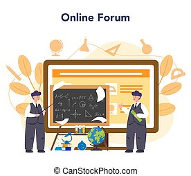 Teacher online service or platform. School or college workers with professional discipline tools. Online forum. Isolated flat vector illustration