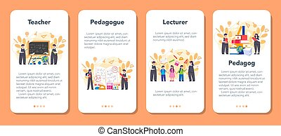 Teacher online service or platform. School or college workers with professional discipline tools. Online consultation. Isolated flat vector illustration