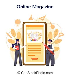 Teacher online service or platform. School or college workers with professional discipline tools. Online magazine. Isolated flat vector illustration