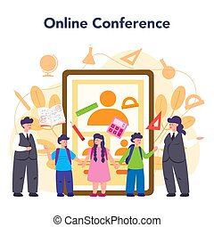 Teacher online service or platform. School or college workers with professional discipline tools. Online conference. Isolated flat vector illustration