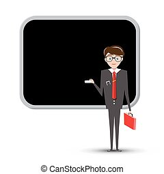 Teacher or Businessman with Empty Blackboard Isolated on White Background. Vector.