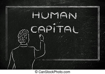 teacher or ceo explaining about human capital