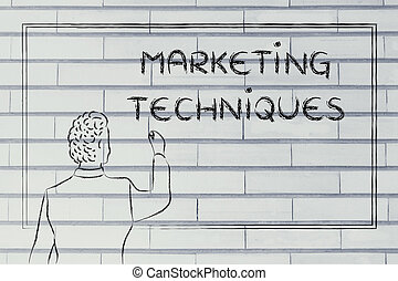 teacher or ceo explaining about marketing techniques -...