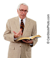 Teacher or Preacher - Senior man speaking with an opened...