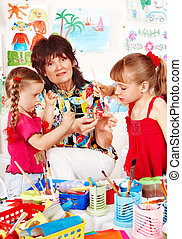 teacher., pintura, niños