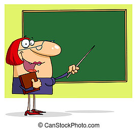 Teacher Pointing To A Chalkboard - Welcoming Female Teacher...