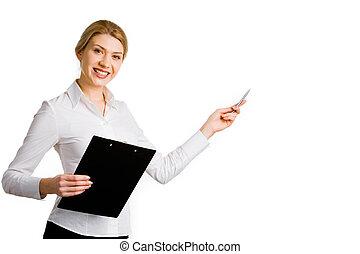 Teacher - Portrait of business woman holding a folder and...