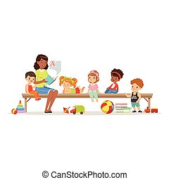 Teacher reading a book to kids while sitting on a bench, childrens education and upbringing in preschool or kindergarten, colorful characters