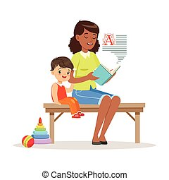 Teacher reading a book to little boy while sitting on a bench, kids education and upbringing in preschool or kindergarten, colorful characters