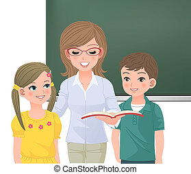 teacher reading aloud for pupils - School teacher reading...