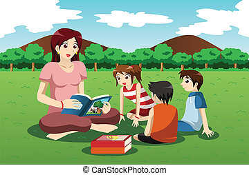 Teacher reading book to kids