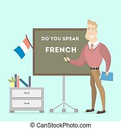 teacher., samiec, francuski