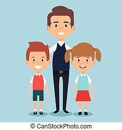 teacher school with children avatar character