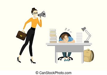 teacher screams into a megaphone and Tired teenager boy sleep