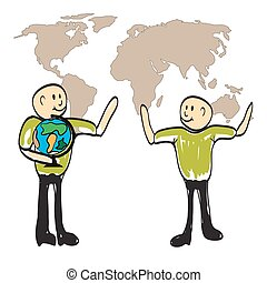teacher showing a globe of the world illustration