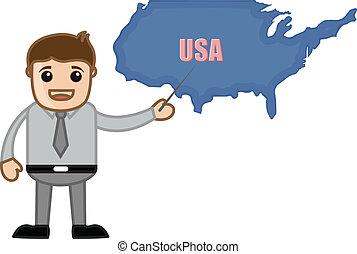 Teacher Showing USA Map