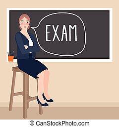 teacher sitting in front of class writing exam in blackboard