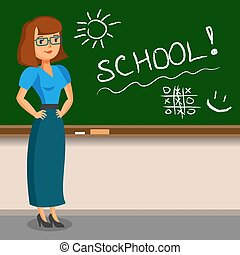 Teacher standing on blackboard background in the classroom. Vector illustration.