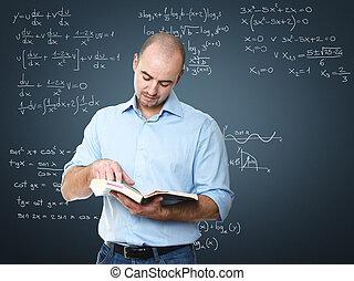 teacher - young teacher at school with blackboard
