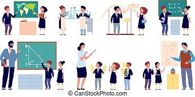 teacher., tablica, lekcja, sprytny, szkoła, grupa, dzieciaki, szczęśliwy, stać, ilustracja, uczniowie, teaching., odizolowany, muzyka, dzieci, klasa, wektor