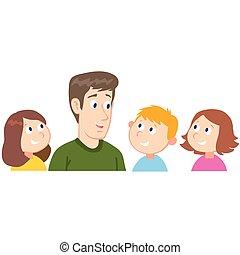 teacher talks to the children