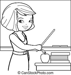Teacher teaching at class. Coloring book page.