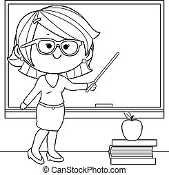 Teacher teaching at class. Vector coloring page.