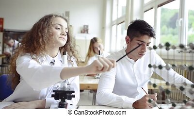 Teacher teaching biology to high school students in...