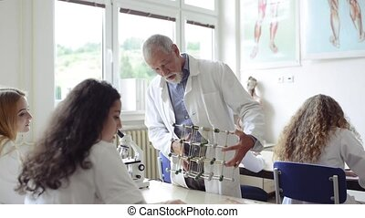 Teacher teaching biology to high school students in...