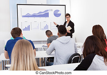 Teacher Teaching Graphs To College Students