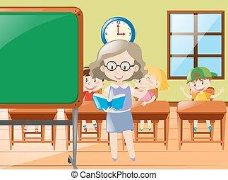 Teacher teaching in classroom at school