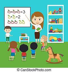 Teacher teaching kids in kindergarten. Vector preschool...