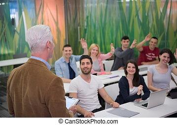 students group raise hands up - teacher teaching lessons,...