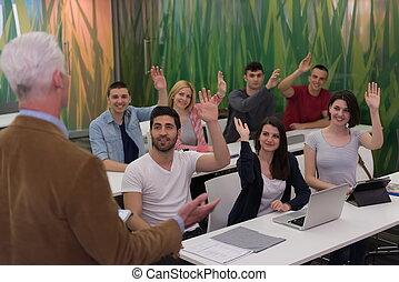 students group raise hands up - teacher teaching lessons, ...
