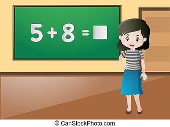 Teacher teaching math in classroom
