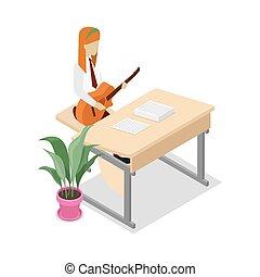 Teacher teaching music isometric 3D icon