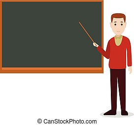 teacher teaching on a blackboard