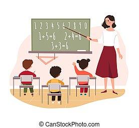 Teacher teaching primary school children in class
